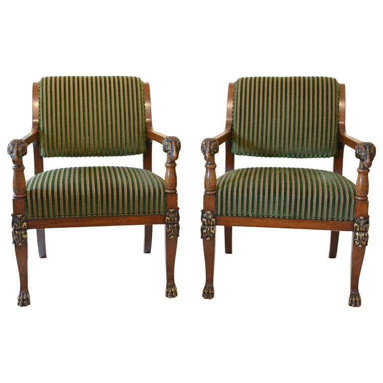 Pair of Mahogany Armchairs with Ram Heads, End of the 18th Century, Baltic For Sale