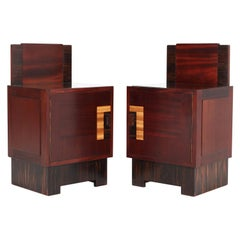 Pair of Mahogany Art Deco Haagse School Nightstands by 't Woonhuys, Amsterdam