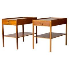 Pair of Mahogany Bedside Tables by Josef Frank for Svenskt Tenn, Sweden, 1950s