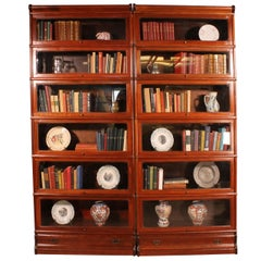 Pair of Mahogany Bookcases of 6 Elements, England, circa 1900