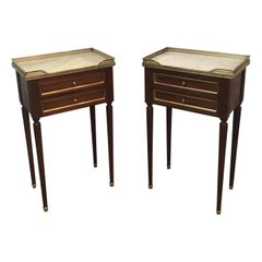 Pair of Mahogany, Brass and Marble Side Tables in the Style of Maison Jansen