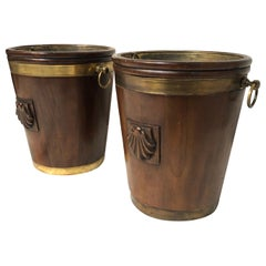 Pair of Mahogany Brass Bound Georgian Peat Buckets, Irish, 1780