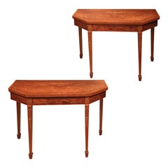 Pair of Mahogany Card Tables, 18th Century Sheraton Period with Tapered Legs