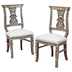 Pair of Mahogany Chairs, Arab Manufacture, Early 20th Century