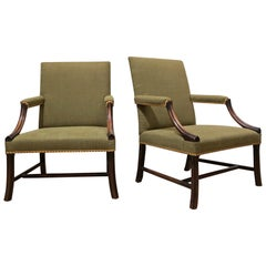 Pair of Mahogany Chinese Chippendale Gainsborough Armchairs