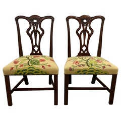 Pair of Mahogany Chippendale Style Side Chairs with Needlepoint Seats