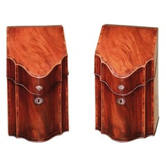 Pair of Mahogany Cutlery Boxes, Late 18th Century with Original Interiors