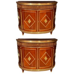 Pair of Mahogany Demilune Servers, Commodes Nightstands, Russian Neoclassical