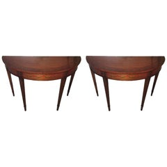 Pair of Mahogany Demilune Tables with Hand Painted Leaves, 20th Century