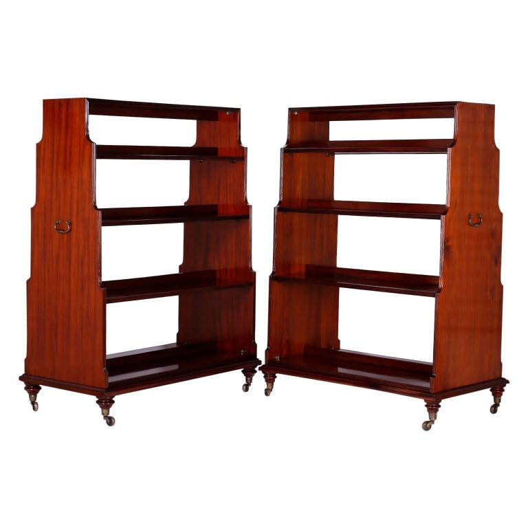 Pair Of Mahogany Double Sided Bookcases For Sale