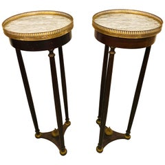 Pair of Mahogany Empire Marble-Top Pedestals