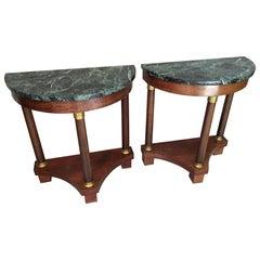 Pair of Mahogany Empire Style Half Moon Console Table