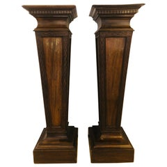 Pair of Mahogany Empire Style Wooden Pedestals
