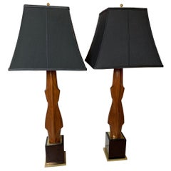 Pair of Mahogany Figural Midcentury Lamps by Laurel Lamp Co.