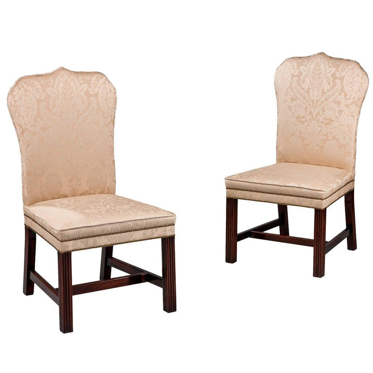 Pair of Mahogany Framed Chippendale Design Chairs For Sale
