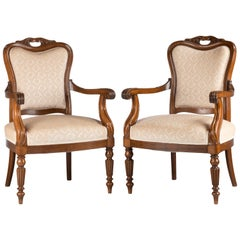 Pair of Mahogany Framed Easy Chairs