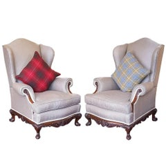 Pair of Mahogany Framed Wing Armchairs, 1920s