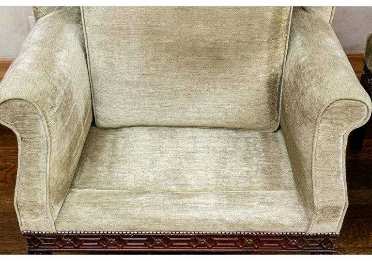 Pair of Mahogany Framed Wing Chairs from John Rosselli For Sale 4