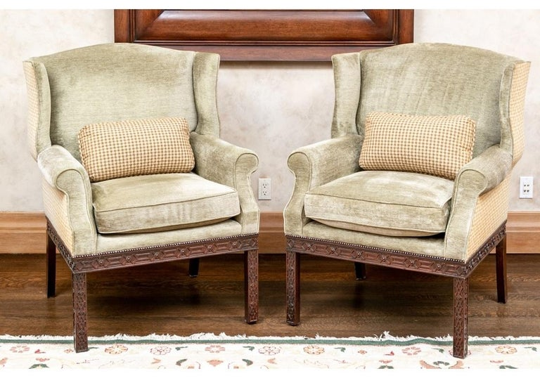 Pair of Mahogany Framed Wing Chairs from John Rosselli For Sale 6