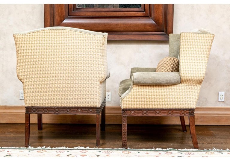 Pair of Mahogany Framed Wing Chairs from John Rosselli For Sale 1