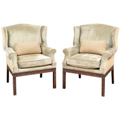 Pair Of Mahogany Framed Wing Chairs From John Rosselli