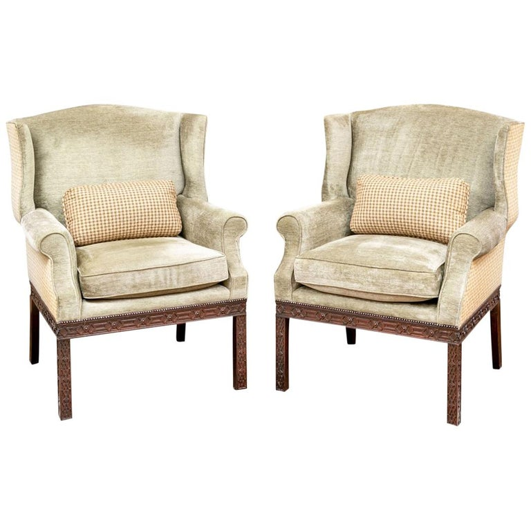 Pair of Mahogany Framed Wing Chairs from John Rosselli For Sale