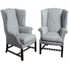 "Pair of Mahogany ""Gothic Chippendale"" Wing Armchairs"