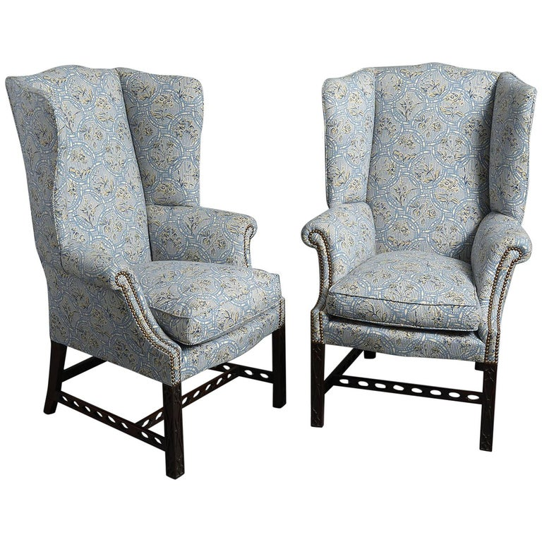 "Pair of Mahogany ""Gothic Chippendale"" Wing Armchairs For ..."