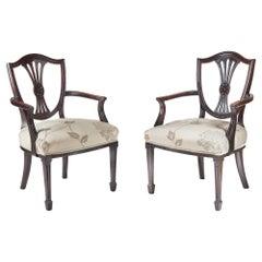 Pair of Mahogany Hepplewhite Style Elbow Chairs