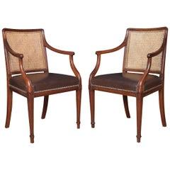 Pair of Mahogany Hepplewhite Style Office Armchairs
