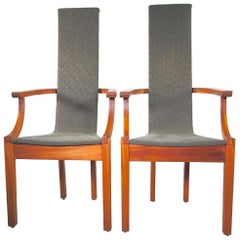 Pair of Mahogany High Back Chairs by Leo Johansson