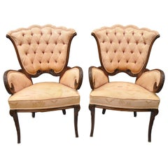 Pair of Mahogany Hollywood Regency Tufted Armchairs Attributed to Grosfeld House
