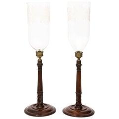 Pair of Mahogany Hurricane Candlesticks