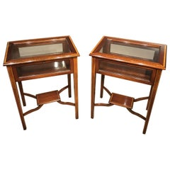 Pair of Mahogany Inlaid Edwardian Period Bijouterie Tables