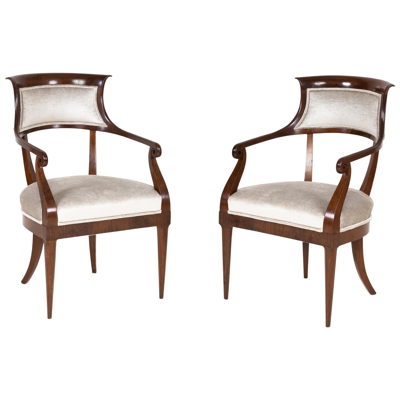 Pair of Mahogany Italian Armchairs, Early 19th Century