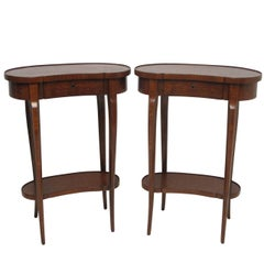 Pair of Mahogany Kidney Shape Parquetry Inlay Side Tables, French, circa 1900