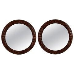 Pair of Mahogany Laurel Leaf Mirrors