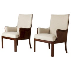 Pair of Mahogany Lounge Chairs by Frits Henningsen, Denmark, 1930s