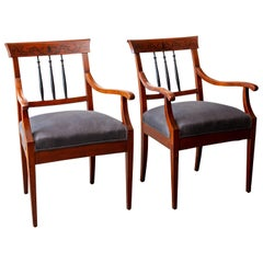 Pair of Mahogany Neoclassical Style Armchairs