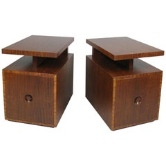 Pair of Mahogany Nightstands by Andrew Szoeke