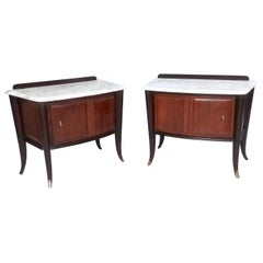 Pair of Walnut Nightstands produced by Dassi with Carrara Marble Top