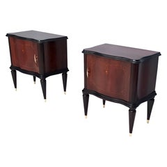 Pair of Vintage Wooden Nightstands with in the Style of Tomaso Buzzi, Italy