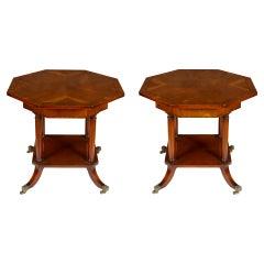 Pair of Mahogany Octagonal Side Tables
