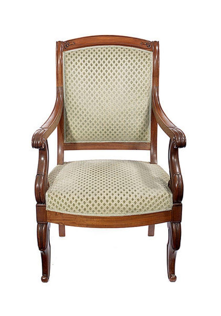 Regency Pair of Mahogany Open Armchairs, circa 1830 For Sale