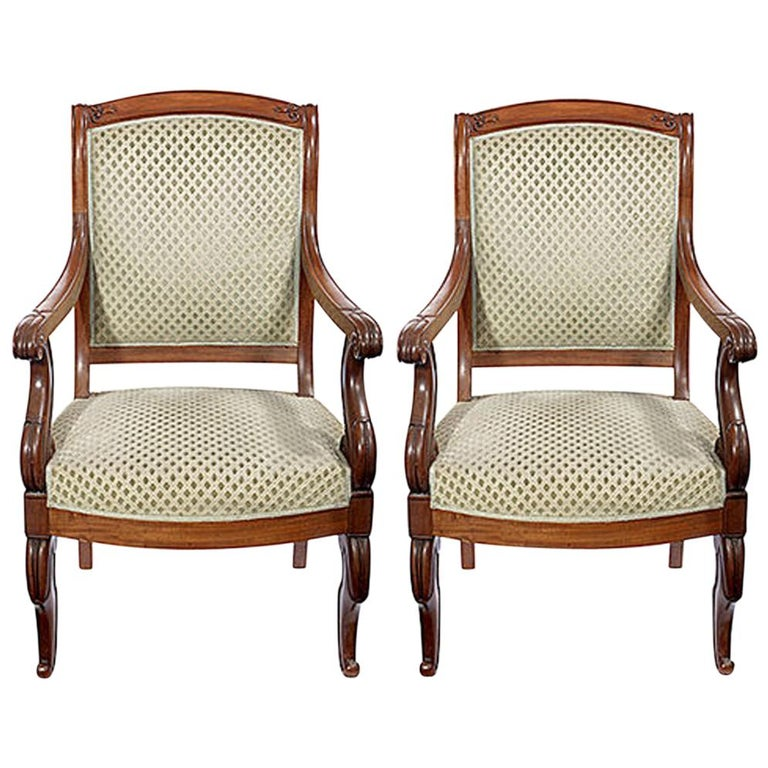 Pair of Mahogany Open Armchairs, circa 1830 For Sale