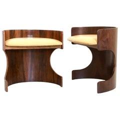 Pair of Mahogany Plywood Poufs with Skai Upholstery, Italy, 1950s