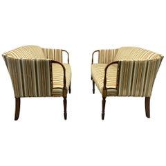 Pair of Mahogany Sheraton Style Sofas