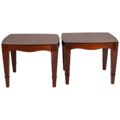 Pair of Mahogany Side Table with Marquetry Work