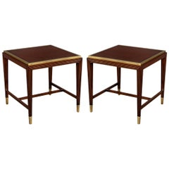 Pair of Mahogany Side Tables with Brass Accents