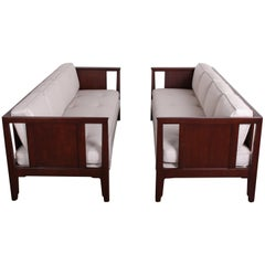 Pair of Mahogany Sofas by Edward Wormley for Dunbar